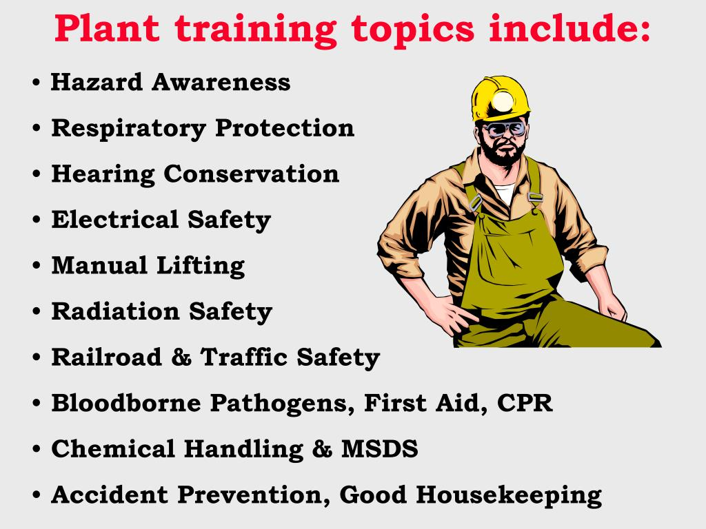 Plant training topics include: