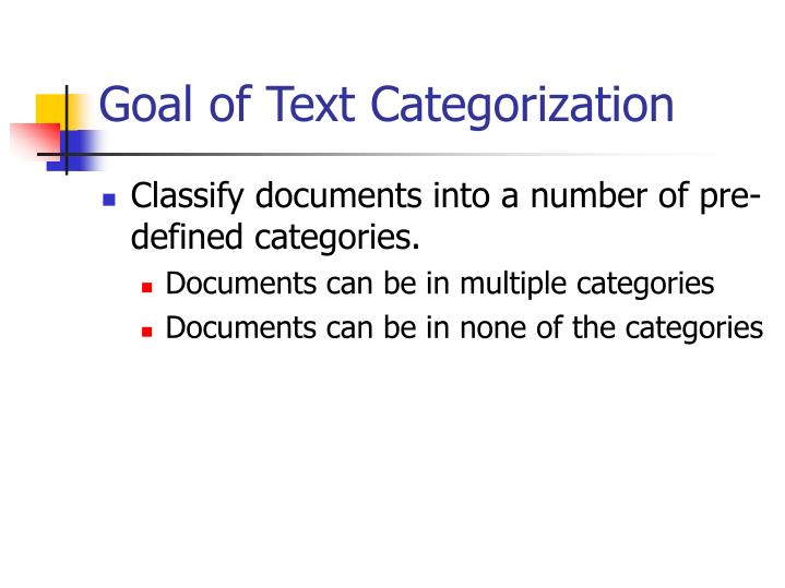 Goal of text categorization