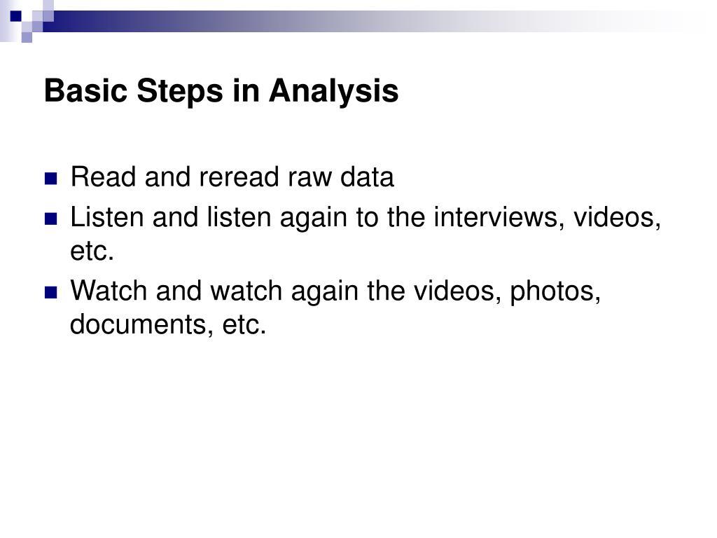 Basic Steps in Analysis