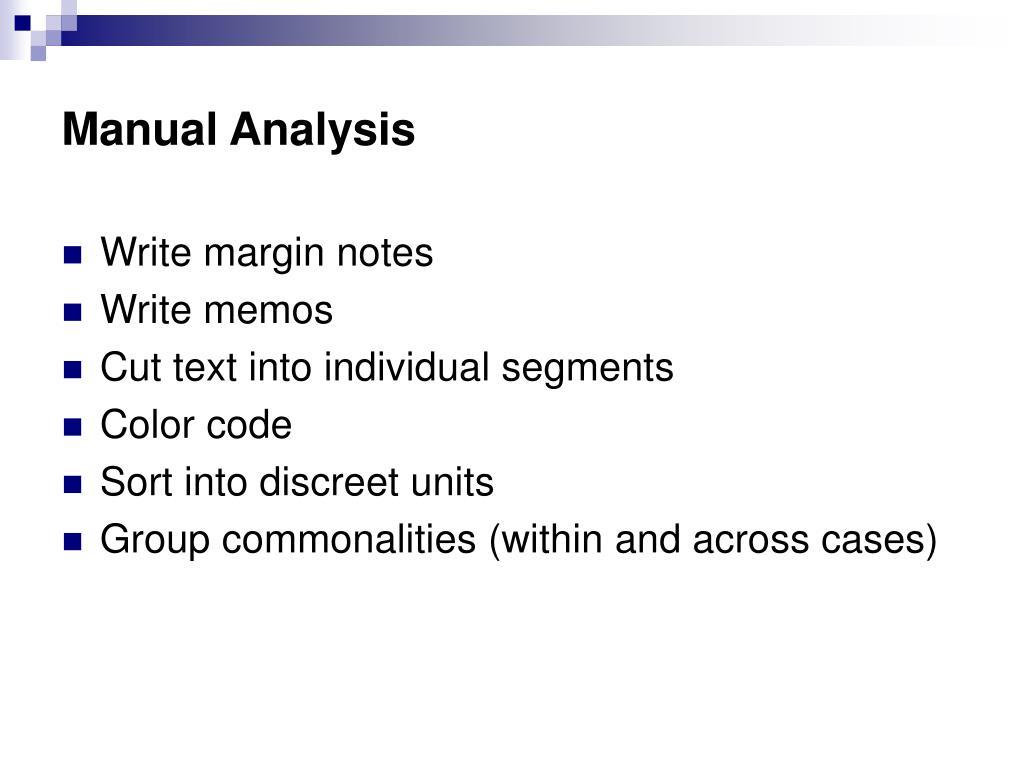 Manual Analysis