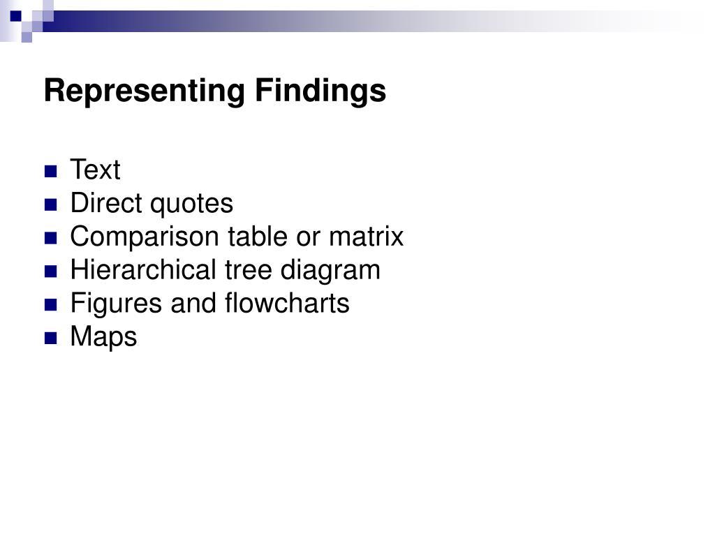 Representing Findings