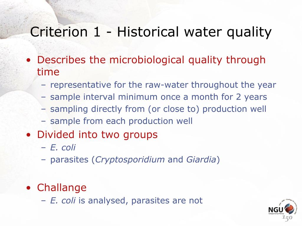 Criterion 1 - Historical water quality