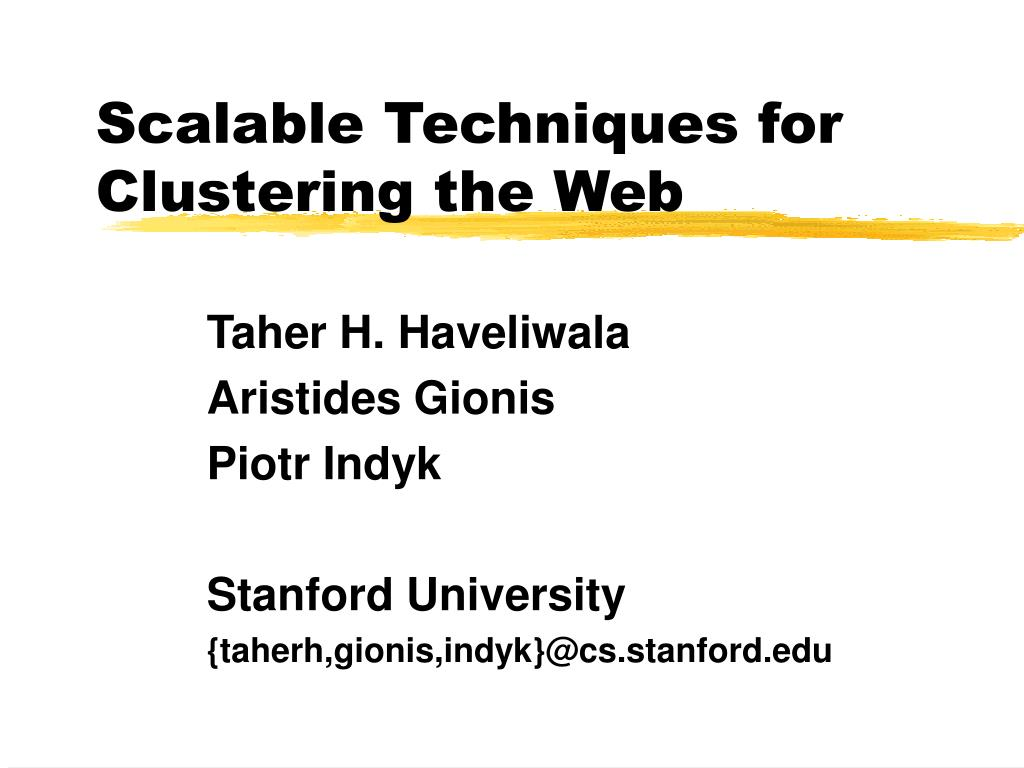 Scalable Techniques for Clustering the Web