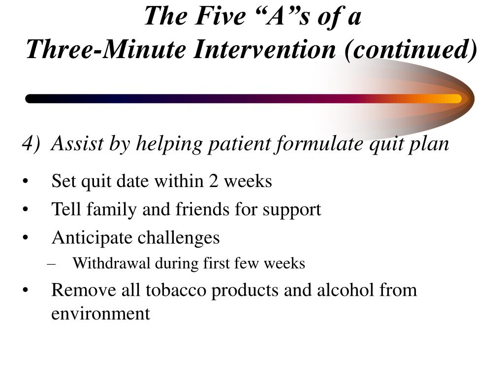 Assist by helping patient formulate quit plan