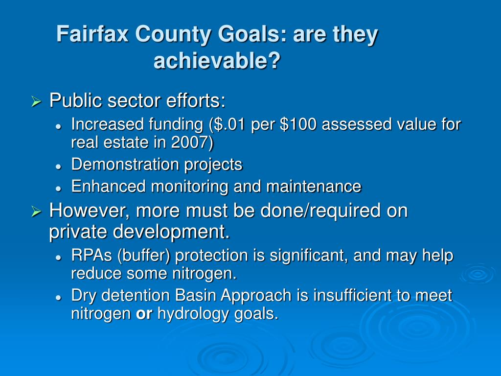 Fairfax County Goals: are they achievable?