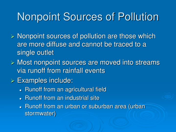 Nonpoint sources of pollution