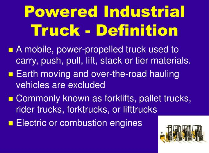 Powered industrial truck definition