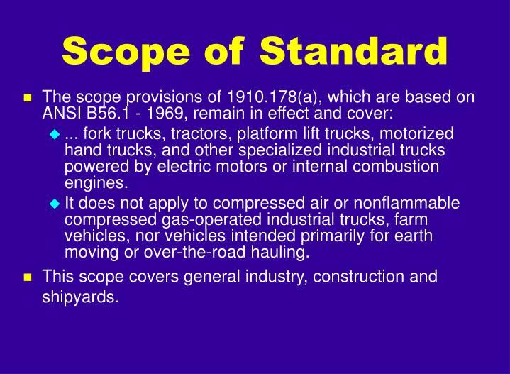 Scope of standard