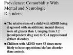 prevalence comorbidity with mental and neurologic disorders