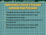 hydrostatics pascal s principle and body fluid pressures