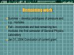remaining work