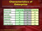 characteristics of enterprise