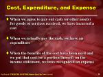 cost expenditure and expense