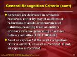 general recognition criteria cont