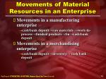 movements of material resources in an enterprise14