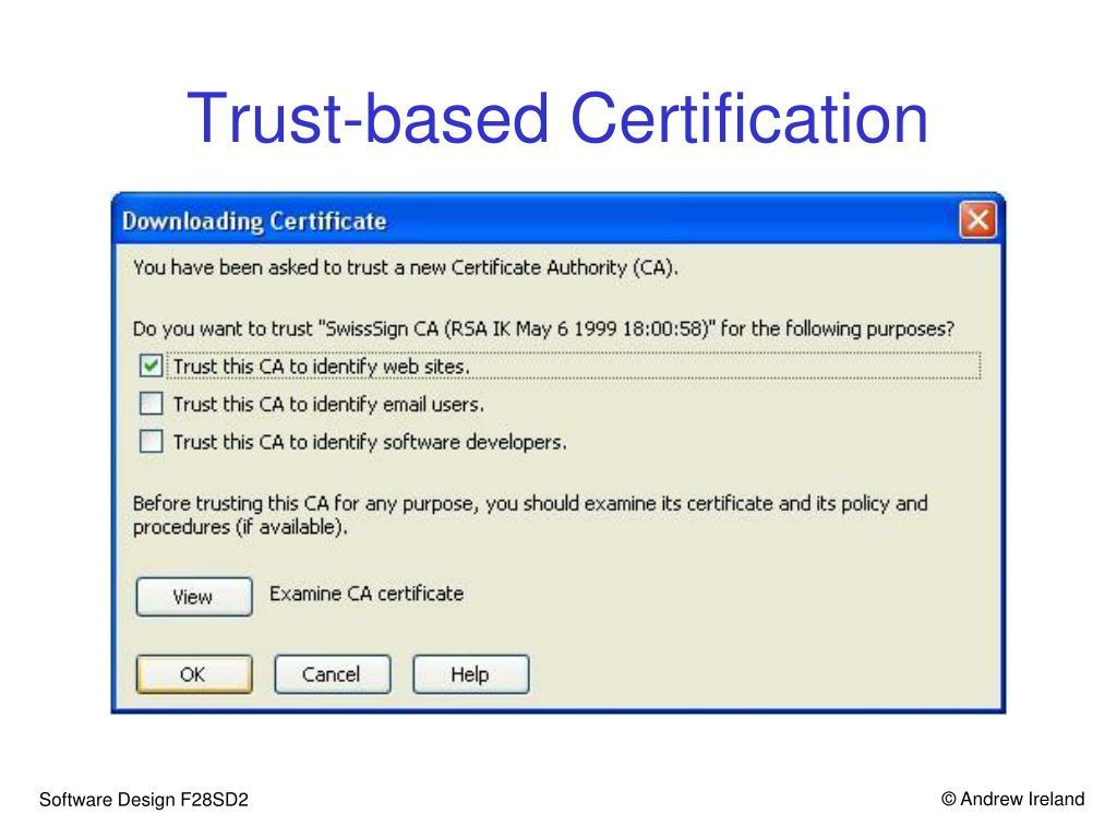 Trust-based Certification