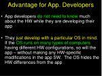 advantage for app developers