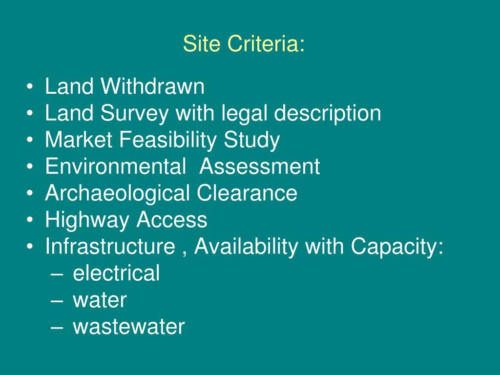 Site Criteria: