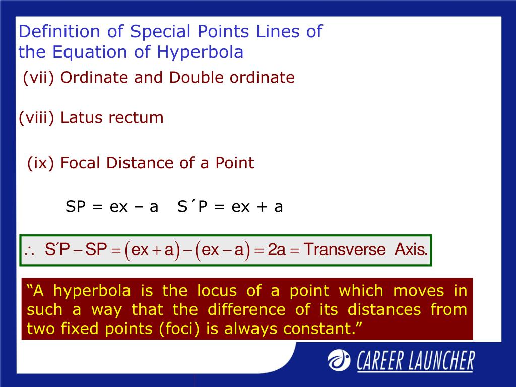 (ix) Focal Distance of a Point