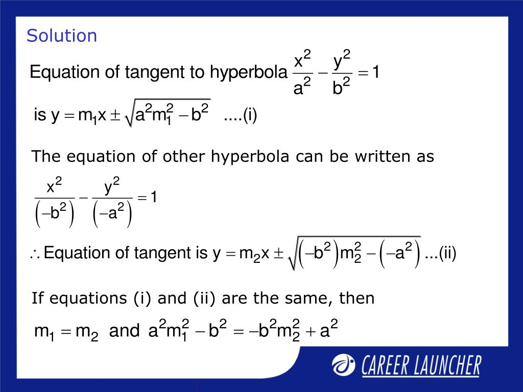 The equation of other hyperbola can be written as