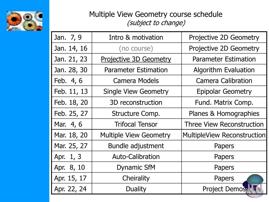 Multiple View Geometry course schedule