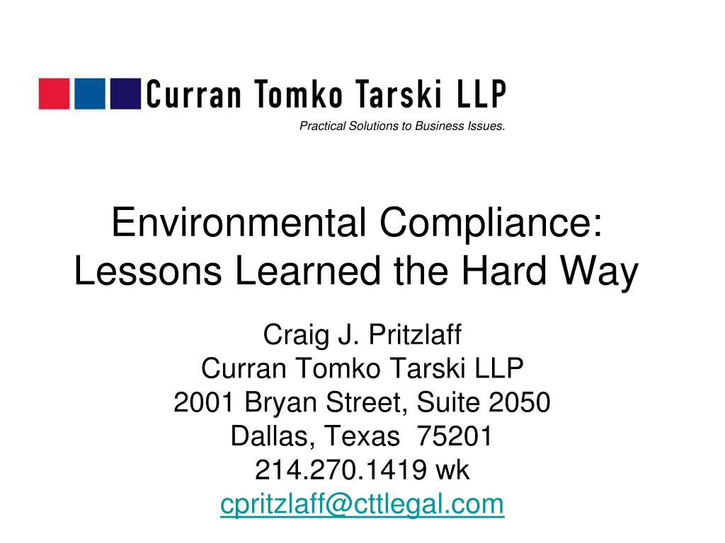 environmental compliance lessons learned the hard way l.