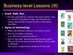 business level lessons iii