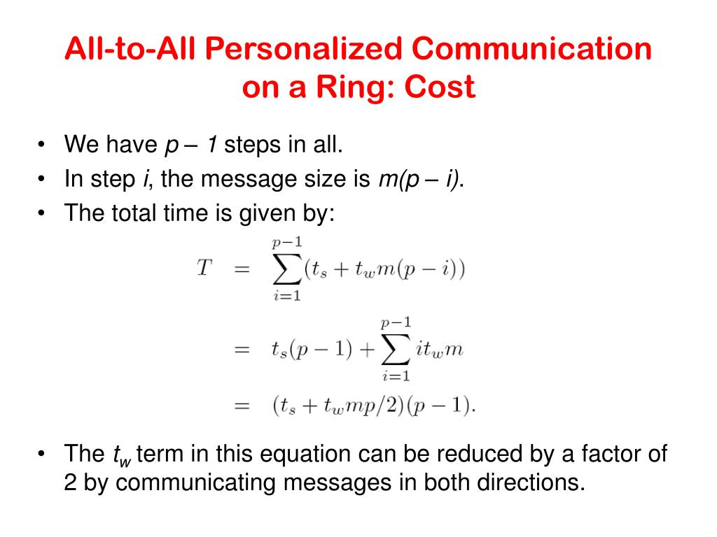 All-to-All Personalized Communication on a Ring: Cost