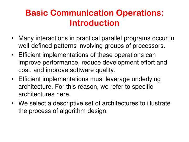 Basic communication operations introduction