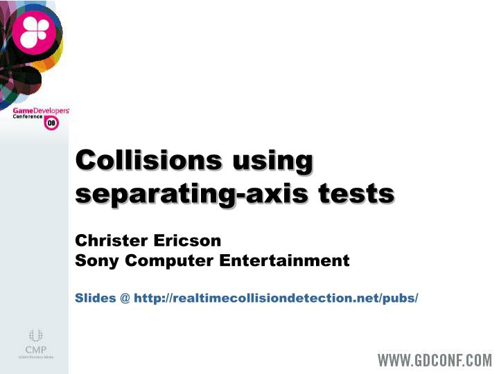 Collisions using separating axis tests