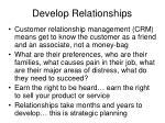 develop relationships
