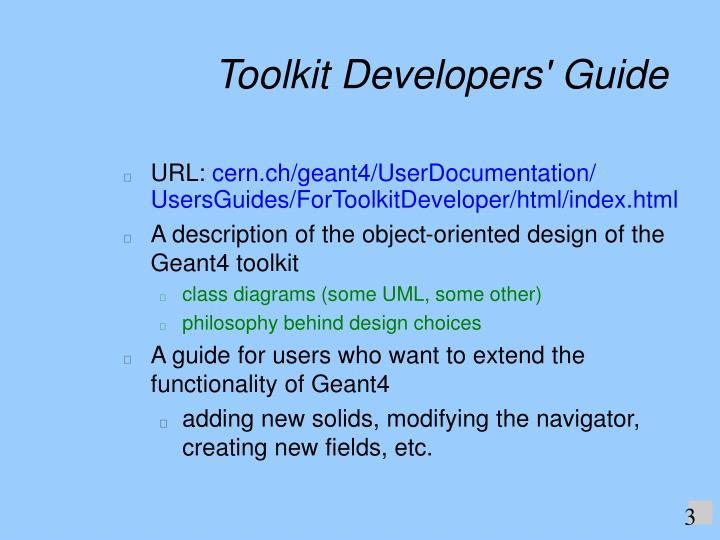 Toolkit developers guide