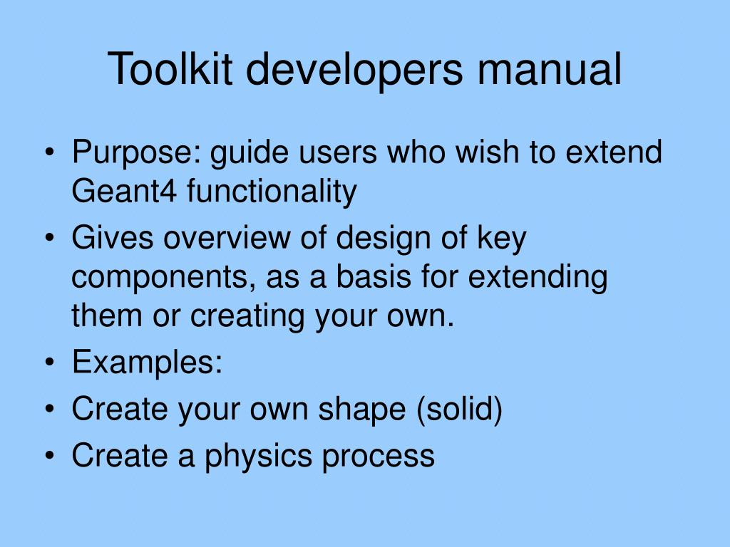 Toolkit developers manual