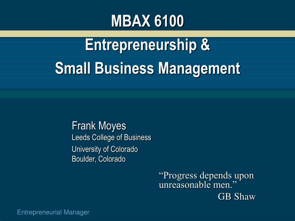 mbax 6100 entrepreneurship small business management l.