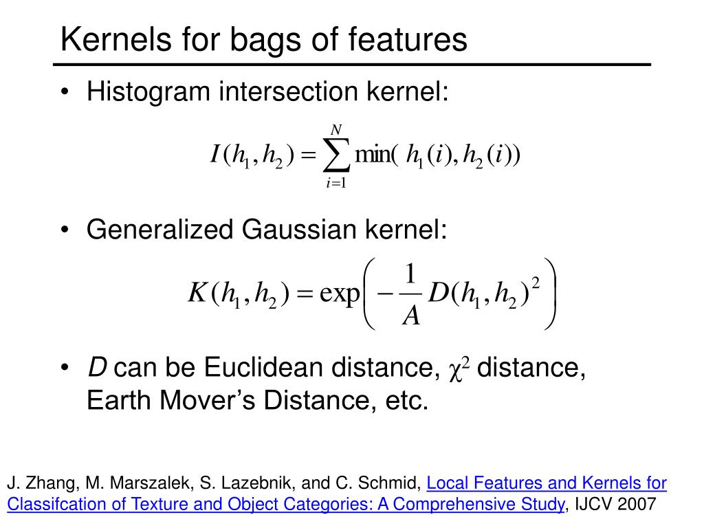 Kernels for bags of features