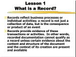 lesson 1 what is a record