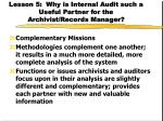 lesson 5 why is internal audit such a useful partner for the archivist records manager30
