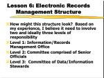 lesson 6 electronic records management structure