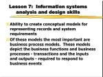 lesson 7 information systems analysis and design skills