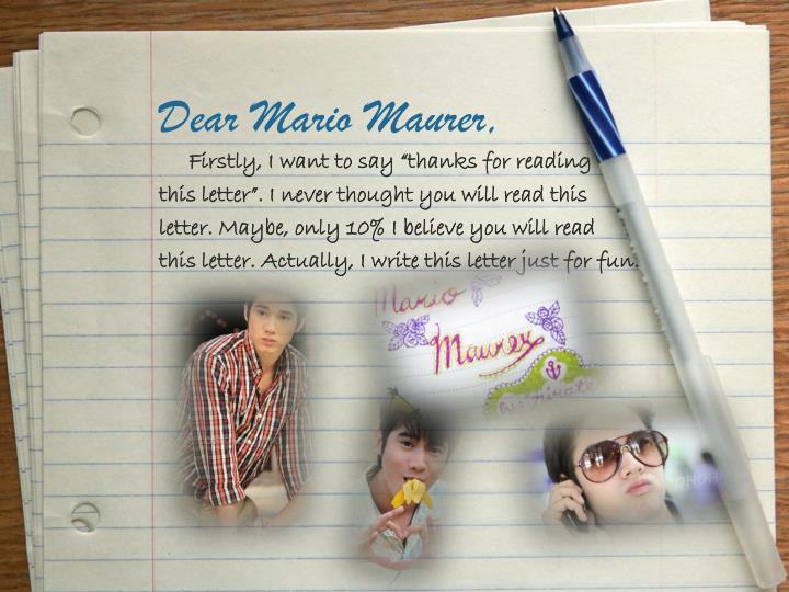 Dear mario maurer