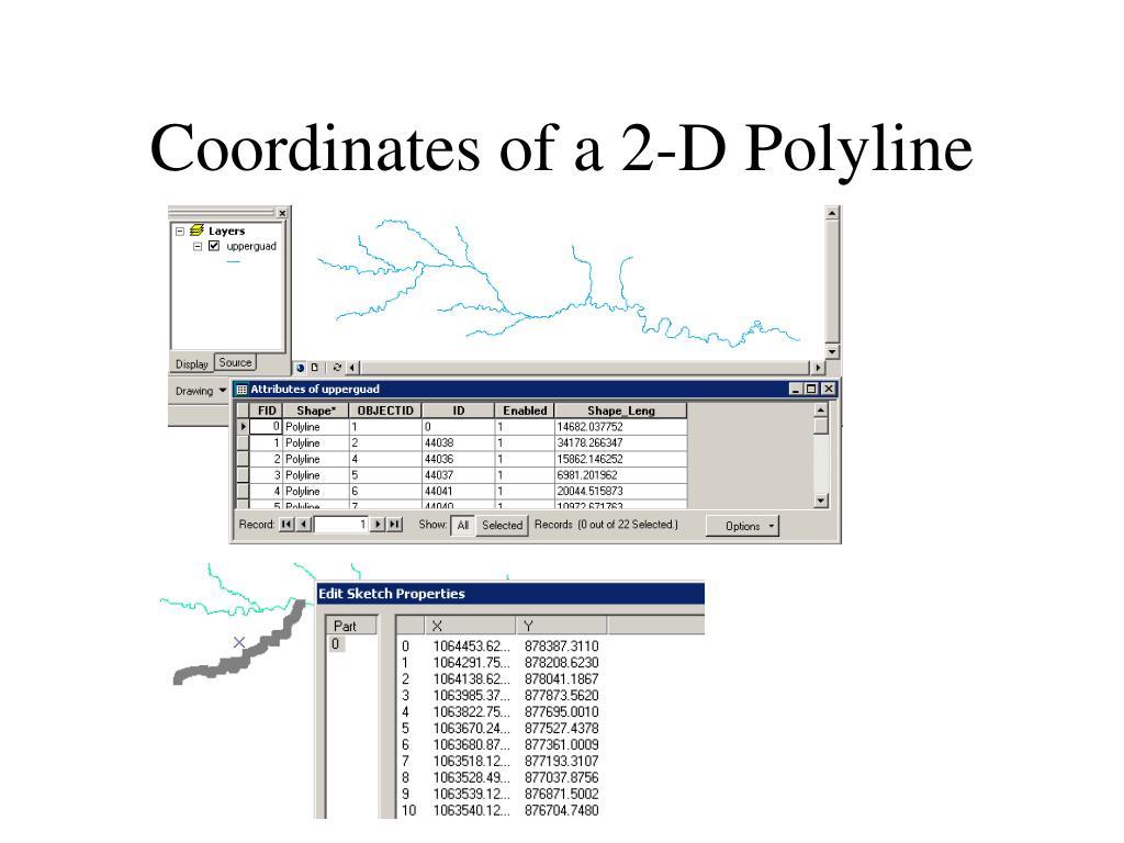 Coordinates of a 2-D Polyline