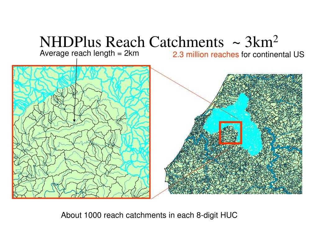 NHDPlus Reach Catchments  ~ 3km