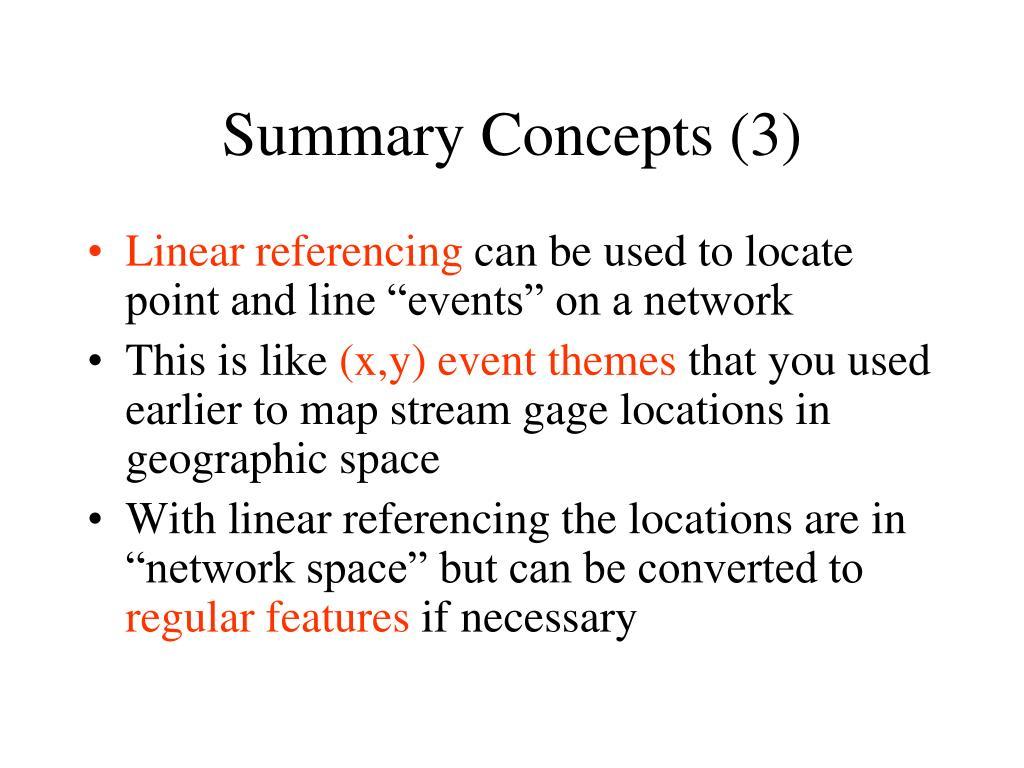 Summary Concepts (3)