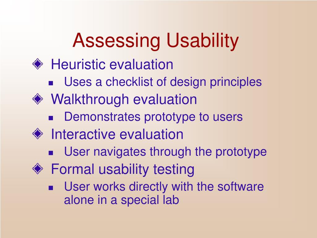 Assessing Usability