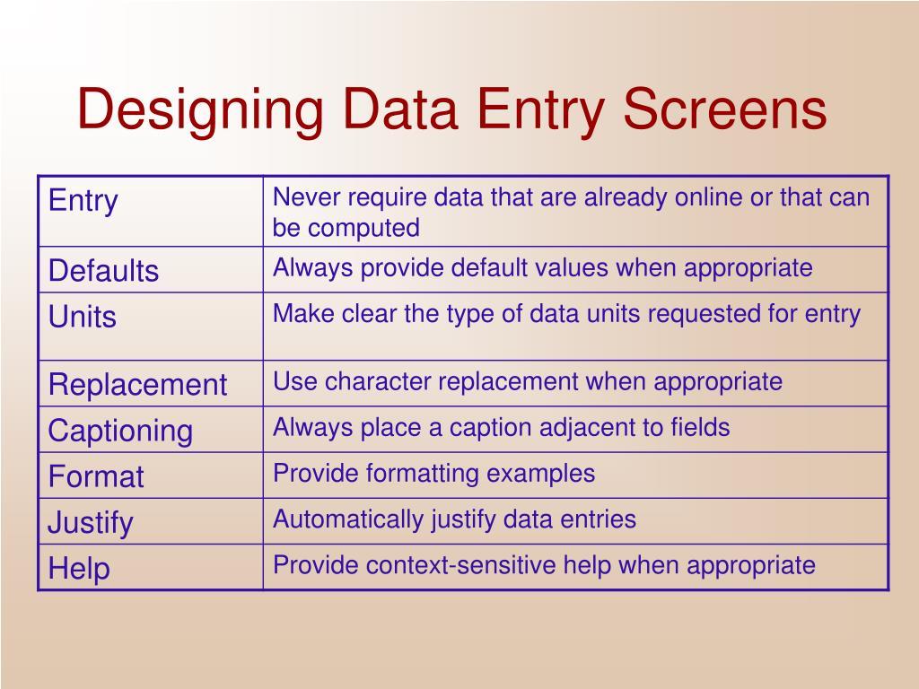 Designing Data Entry Screens