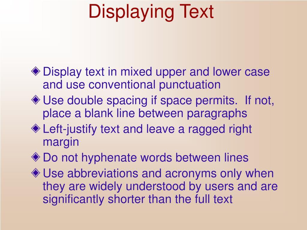 Displaying Text