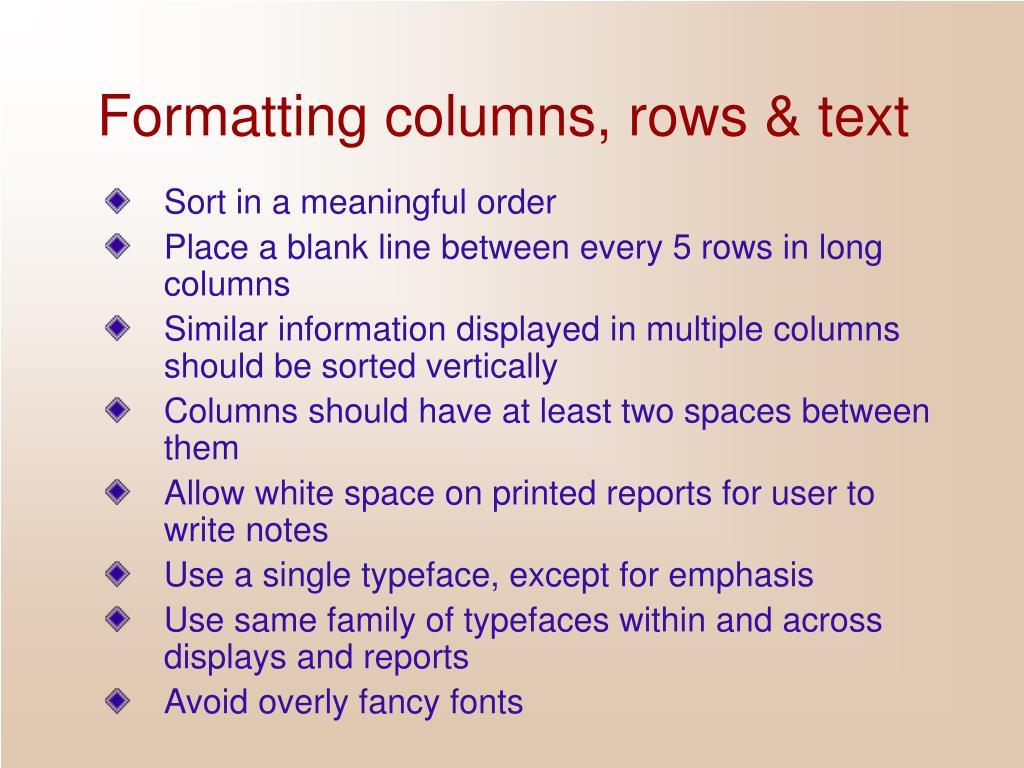 Formatting columns, rows & text