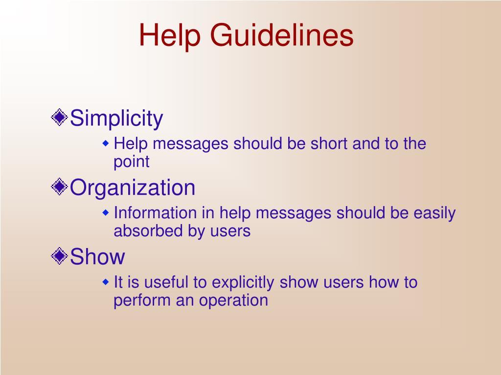 Help Guidelines