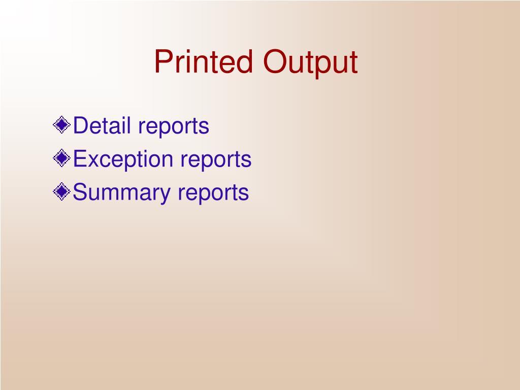 Printed Output
