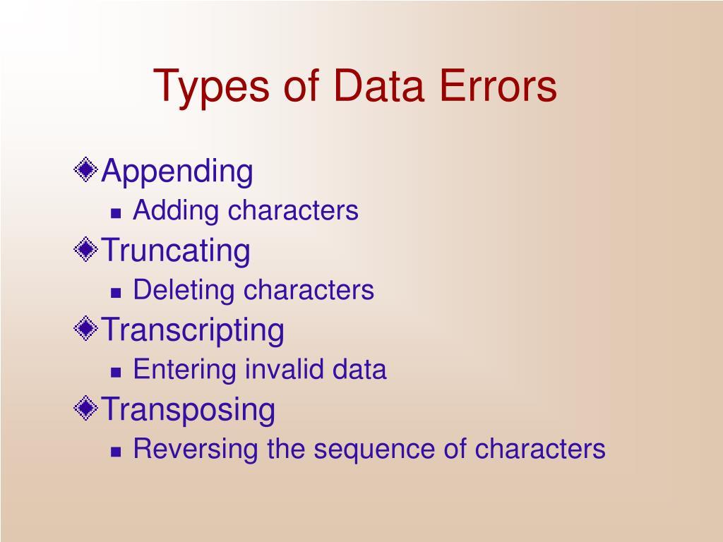 Types of Data Errors
